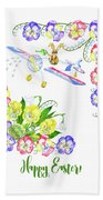 Welcome Spring. Rabbit And Flowers Bath Towel