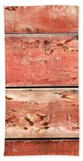 Wood Background With Faded Red Paint Bath Towel