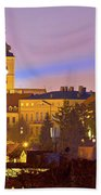 Zagreb Historic Upper Town Night View Bath Towel