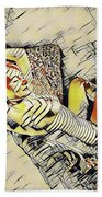 4248s-jg Zebra Striped Woman In Armchair By Window Erotica In The Style Of Kandinsky Hand Towel by Chris Maher