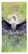 Cormorant Dries Its Wings Bath Towel