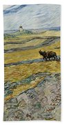 Enclosed Field With Ploughman Bath Towel