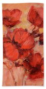 Poppy Flowers Handmade Oil Painting On Canvas Bath Towel