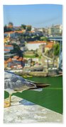 Porto Skyline Seagull Bath Towel