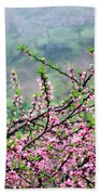 Blossoming Peach Flowers In Spring Bath Towel