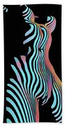 5278s-mak Zebra Striped Nude Woman Rendered In Composition Style Hand Towel by Chris Maher