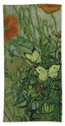 Butterflies And Poppies Bath Towel