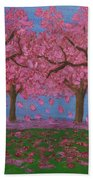Pink Garden, Oil Painting Bath Towel