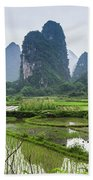 The Beautiful Karst Rural Scenery In Spring Hand Towel