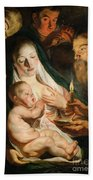 The Holy Family With Shepherds Bath Towel