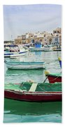 Traditional Boats At Marsaxlokk Harbor In Malta Bath Towel
