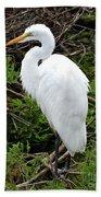 White Egret Bath Towel