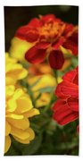 Tagetes Patula Fully Bloomed French Marigold At Garden In Octob Bath Towel
