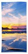 Beach Skyset Sunset On A Perranporth Beach Cornwall Bath Towel