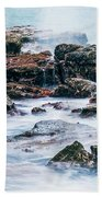 Rocks And Waves At Point Cartwright  Bath Towel