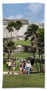 Mayan Temples At Tulum, Mexico Bath Towel