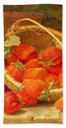 A Basket Of Strawberries On A Stone Ledge Hand Towel