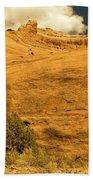 A Big Mountainous Rock On The Gemini Trail Moab Utah  Bath Towel