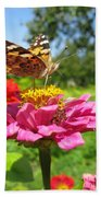 A Butterfly On The Pink Zinnia Bath Towel