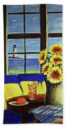 A Coastal Window Lighthouse View Bath Towel
