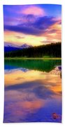 A  Colourful Evening At Lake Patricia Bath Towel