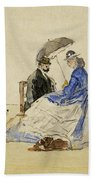 A Couple Seated On The Beach With Two Dogs Bath Towel
