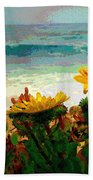 A Flowery View Of The Surf Watercolor Bath Towel