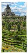 A Garden View At Chateau De Villandry Bath Towel