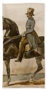 A Gentleman On Horseback With A Subsidiary Study Of The Horse's Head Bath Towel