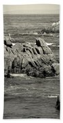 A Good Day Fishing On Monterey Bay In Black And White Bath Towel