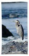A Great Blue Heron At The Spokane River Bath Towel