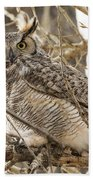 A Great Horned Owl's Wide Eyes Bath Towel