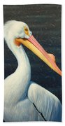 A Great White American Pelican Bath Towel