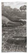A Group Of Brontosaurs, Or Thunder Bath Towel