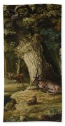 A Herd Of Stag And A Fawn In A Woodland Landscape Bath Towel