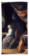 A Lady Playing The Clavichord Bath Towel