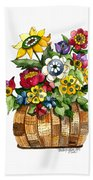 A Lovely Basket Of Flowers Bath Towel