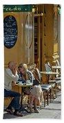 A Man A Woman A French Cafe Bath Towel by Allen Sheffield