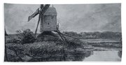 A Mill On The Banks Of The River Stour Charcoal On Paper Bath Towel