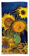 A Modern Look At Vincent's Vase With 5 Sunflowers Bath Towel