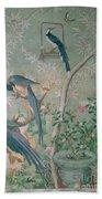A Pair Of Magpie Jays  Vintage Wallpaper Bath Towel