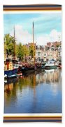 A Peaceful Canal Scene - The Netherlands L A S With Decorative Ornate Printed Frame. Bath Towel