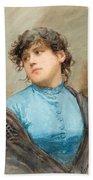 A Portrait Of A Young Woman In A Blue Dress Bath Towel
