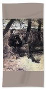 A Pushkin On A Garden Bench 1899 Valentin Serov Bath Towel