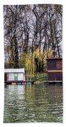 A Raft Houses Moored To The Shoreline Of Ada Medjica Islet Bath Towel