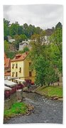 A Riverside Cafe Along The Vltava River In The Czech Republic Bath Towel