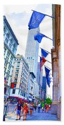 A Row Of Flags In The City Of New York 2 Bath Towel