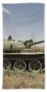 A Russian T-62 Main Battle Tank Rests Bath Towel