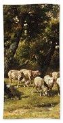 A Shepherd And His Flock Bath Towel