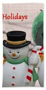 A Three Snowman Holiday Bath Towel